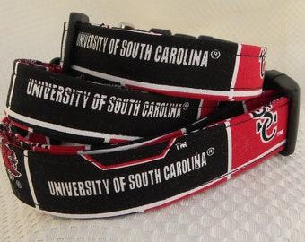 Dog Collar USC University of South Carolina Gamecock CHOOSE SIZE Adjustable Dog Collar with D Ring Sports Baseball Football Hockey