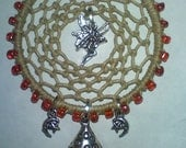 dream catcher,beaded with fairy toadstool moon and stars..