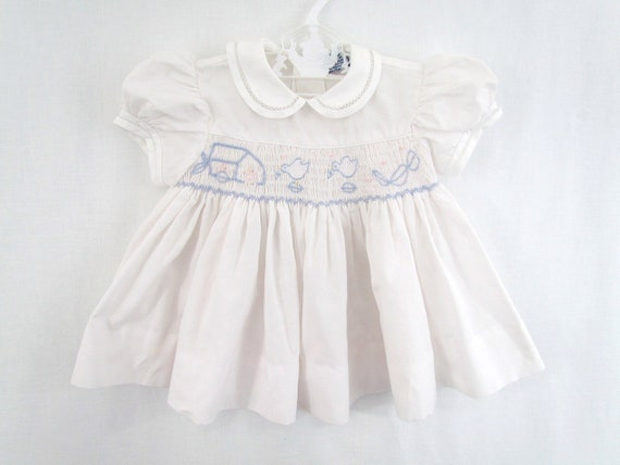 RESERVED for Customer Vintage Baby Dress Smocked by Carriage Town