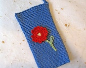 Hand crocheted bright blue mobile phone case phone sleeve phone sock pouch