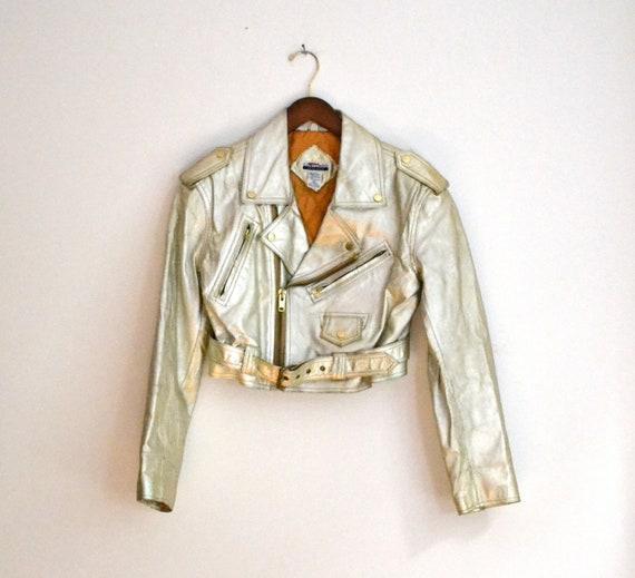 Vintage 80s Biker Metallic Gold Leather Jacket, Size S/M