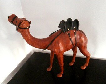 Handcraft Leather Wrapped Dromedary Camel Statue Israel Made
