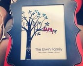 """Personalized Custom Love Birds Wedding Family Tree - Housewarming Gift - Anniverary Gift - Mother of Bride Gift -8""""x10"""" (You Choose Colors))"""
