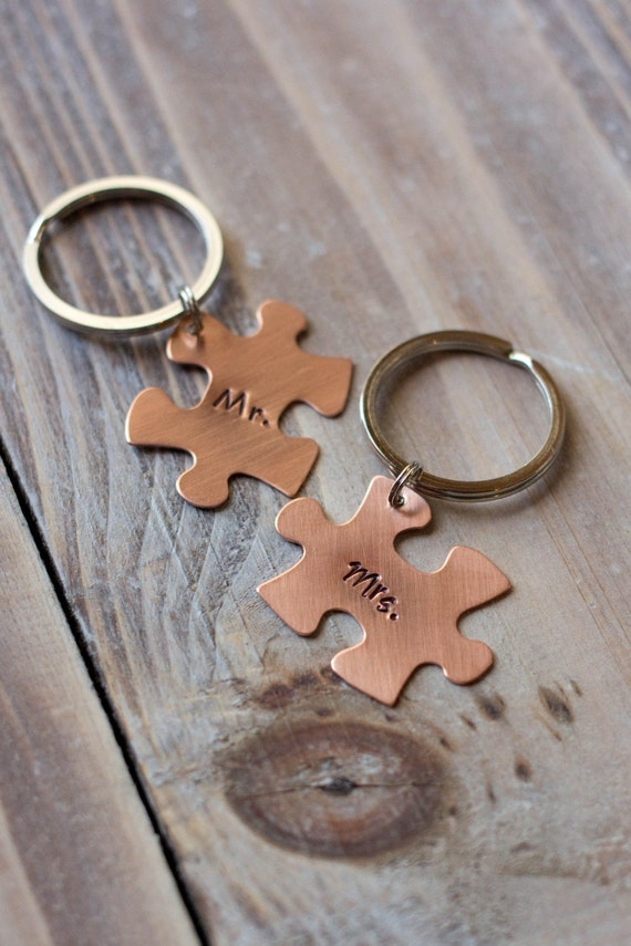 Puzzle Piece Key Chains - Hand Stamped Custom Key Chains - Copper Brass Aluminum - Mr. & Mrs.- Gift for Him