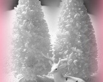 6 inch WHITE flocked bottle brush tree  vintage style
