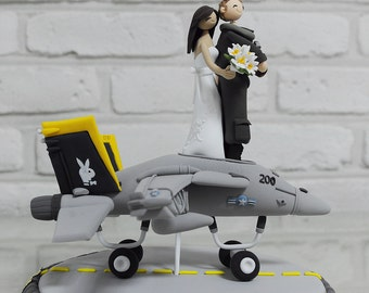 F14 fighter pilot combat plane custom wedding cake topper decoration
