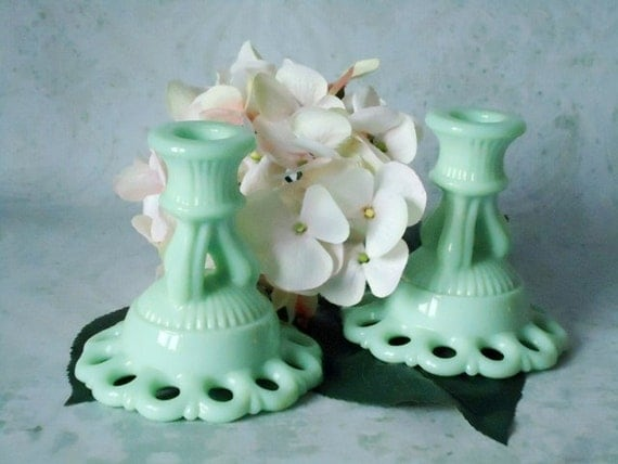 Jadeite Jadite Glass Candle Holder - Doric Glass Candle Stick - Lace Edge Glass Candle Holder