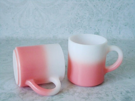 Two Pink Milk Glass Coffee Mugs - Vintage Hazel Atlas Mugs - Pair of Milk Glass Coffee Cups