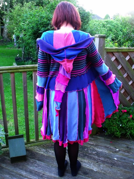 REDUCED  Upcycled sweater dreamcoat with elf hood size UK 8-10