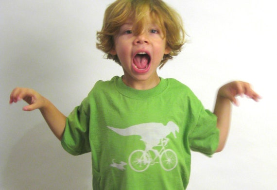 Velocirapture - Hand sewn, hand screened dinosaur spiked T shirt size child Small - green, light green