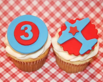 Fondant cupcake toppers Airplane and Age