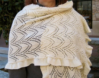 Knit Wrap Pattern:  A Ruffled Lace Shawl Knitting Pattern