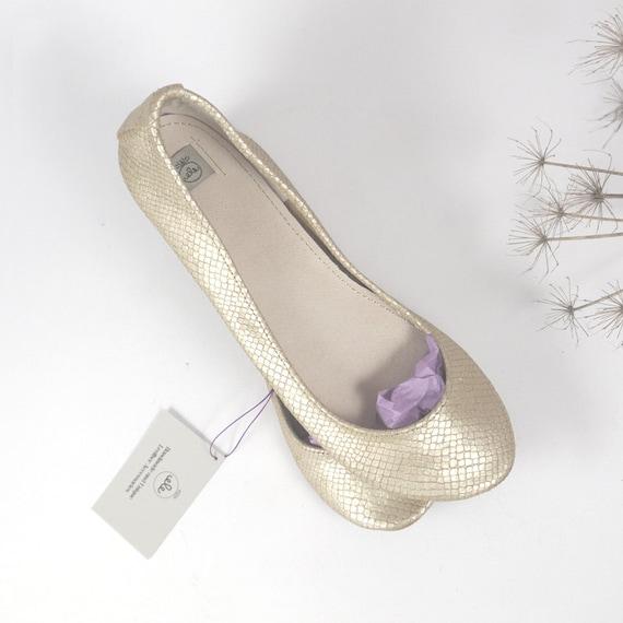 Dull Gold Snake Print Leather Handmade Ballerinas - Reserved for hvascek