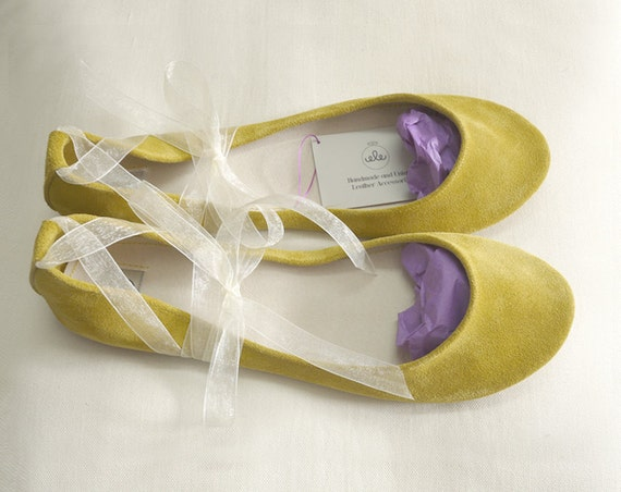 Sunflower Yellow Soft Leather Handmade Ballet Flats - Special Listing for Andrea
