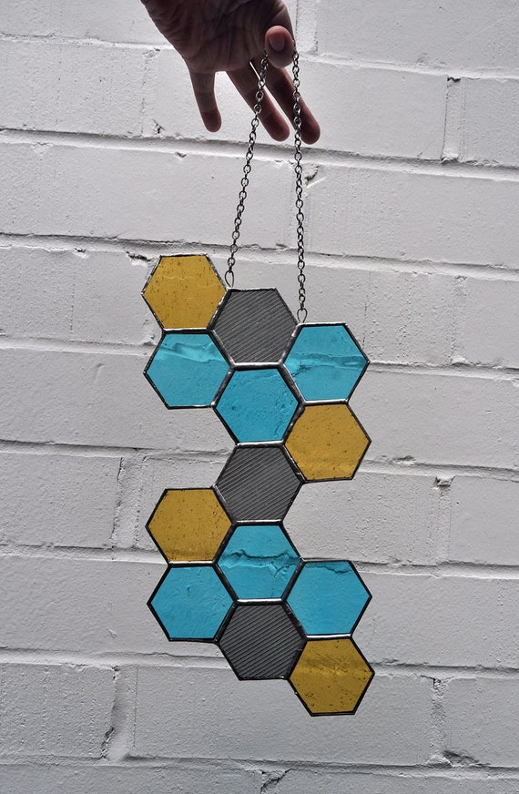 Honeycomb Stained Glass Hanging Panel