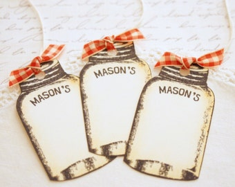 Mason Jar Gift Tags Vintage Style Canning Jar Tags Canned Food Labels Red Gingham Ribbon Food Gifts Weddings Christmas Food Baskets