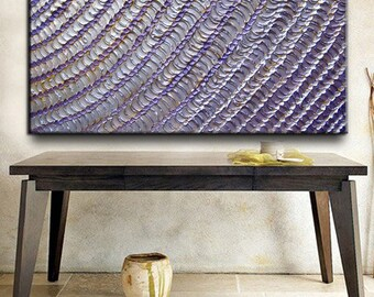 Original Custom Huge Abstract Modern Heavy Texture Palette Knife Impasto Oil Silver Purple White Metallic Painting by Je Hlobik