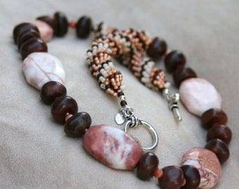 Tibetan Agate with Peach, White, and Brown Double Spiral beadwoven Tribal Unisex Necklace