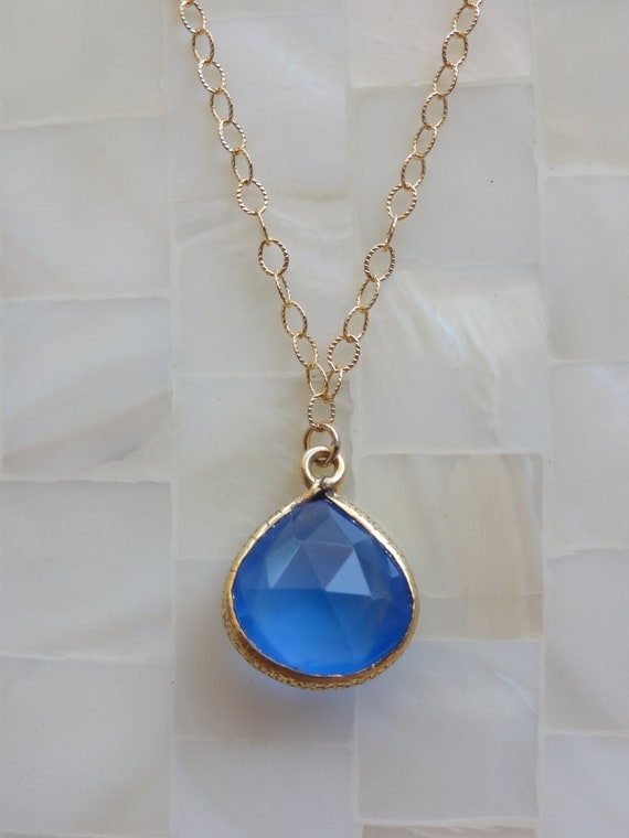 Faceted Deep Blue Chalcedony Vermeil Bezel Pendant on Gold Chain Necklace