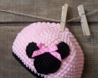 Pink and Black Mouse Crochet Hat, Beanie, Cloche infant photo prop,