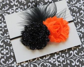 Halloween Shabby Chic Double Rosette Headband...Orange Black Polka Dots with Black Feathers (Newborn, Toddler, Child)