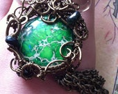 Turqoise Medusa Pendant - Green Turqoise with Antique Bronze Wire, Black Tourmaline and Smokey Quartz