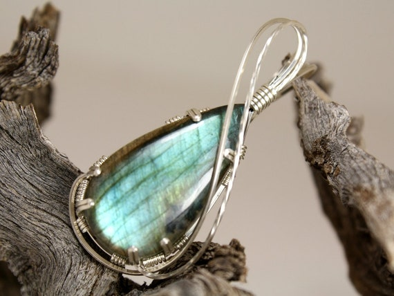 RESERVED - Chain and Mystic Labradorite Teardrop Wire Wrapped Pendant, Handmade In Sterling Silver