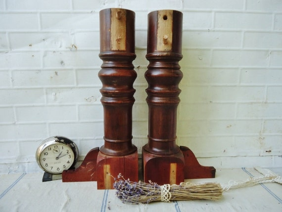 Antique wooden spindle table leg posts set of by knickoftime
