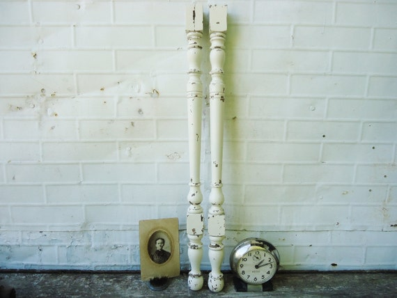 Chippy White Wooden Spindle Salvage - Set of 2