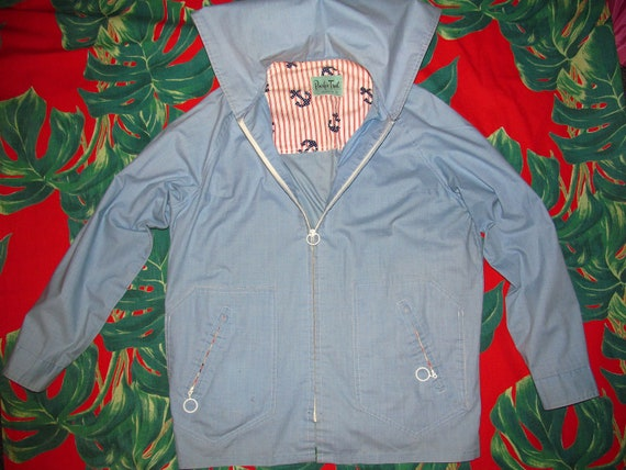 L - Cute vintage 60's pale blue zip up light summer nautical windbreaker jacket with red white stripes and navy blue anchors