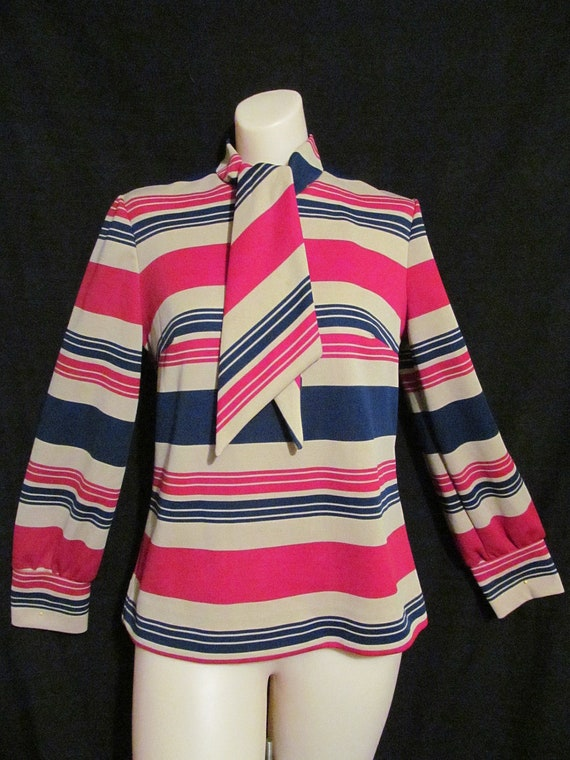 Ultra mod vintage 60's red beige navy blue striped mod go go top with tie / scarf