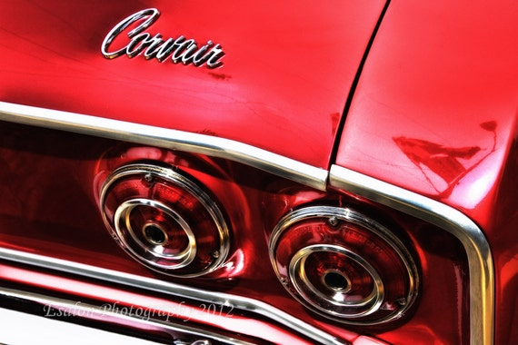 Classic Chevy Covair rear lights emblem red Chevrolet color print