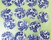 Beautiful Blue and White China pattern wafer paper - 15 circles