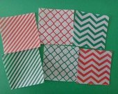 VALUEPACK SIX full sheets of CHRISTMAS geometric red & green edible image wafer papers for your iced cookies, cakes, chocolates and cupcakes