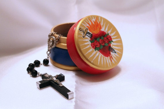 Sacred Heart of Mary Rosary Box - made to order
