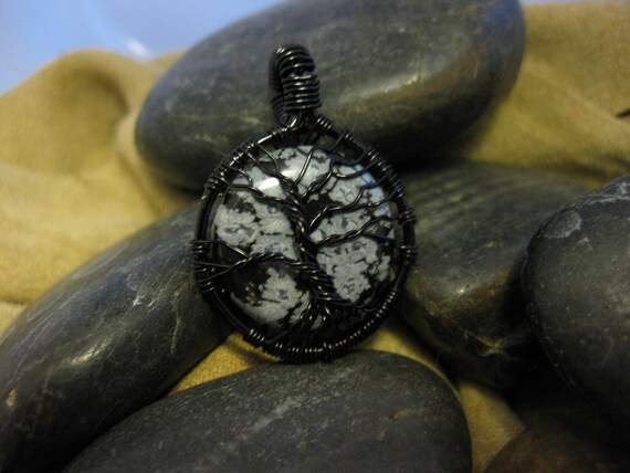 Tree of Life wire wrapped pendant with Snowflake Obsidian