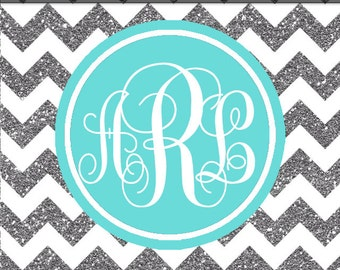 phone monogram wallpaper silver glitter and white chevron