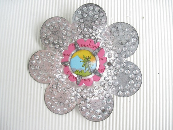 Vintage Tin Flower Brooch - Palm Trees - Tropical - Repurposed Candle Reflector