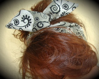 Dolly Bow, Black and Silver Wire Headband