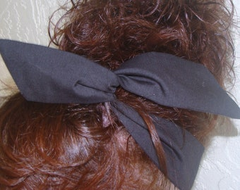 Dolly Bow, Black Wire Headbands Pick Your Solid Color School Spirit Bows
