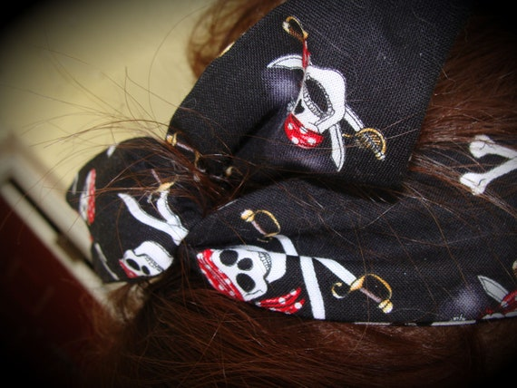 Dolly Bow, Black, White & Red with Skulls and Crossbones Headband