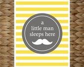 Custom Baby Print 8x10 Wall Art - A Little Man Sleeps Here - original design by a drop of golden sun