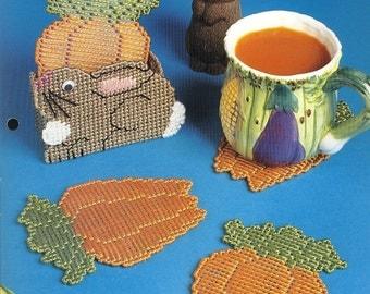 Plastic Canvas Crafts Plastic Canvas Projects Carrot & Bunny Coaster Set Plastic Canvas Patterns