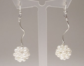 Summer Modern Minimalist Earrings Bride bridal accessories Wedding Fresh Water Pearl Crochet Cluster Long
