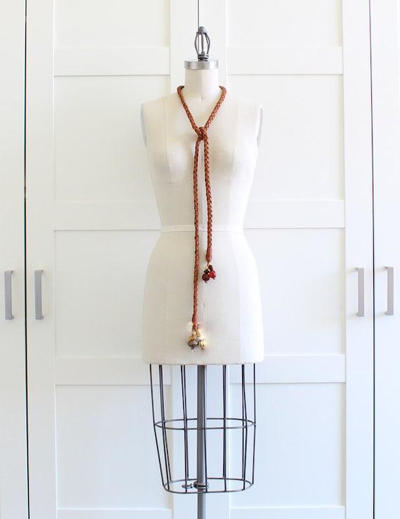 Leather Braided Belt Rope Belt, 70s Hippie Headband Boho Chic Brown Leather Belt, One Size