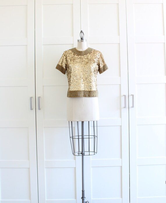 1960s Gold Sequin Top, Vintage Sequin Blouse Sequin Jacket, Sequin Fashion Beaded Top, size Medium RESERVED