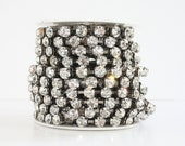 8mm Rhinestone Chain Black Oxidized Crystal Glass Rhinestone Chain One Yard 36 Inches