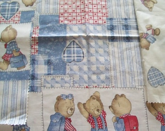 SALE - Fabric Destash - Teddy Bears First Day of School - Springs Fabrics - REMNANTS