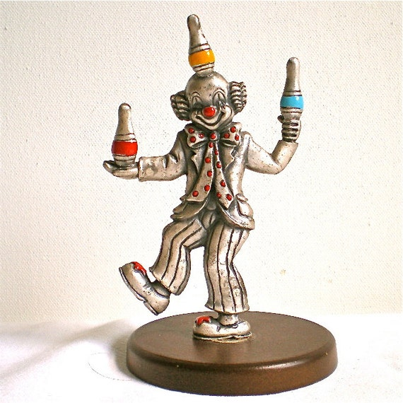 Clown, George Good, Pewter Clown, Circus, Vintage Clown juggling, Figurine, Collectable, 1980s, 1clown