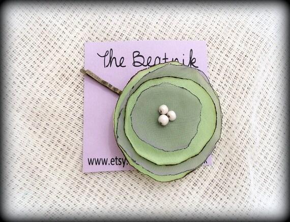 Hair Pin Mint Green and Gray Chiffon Layered Flower